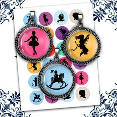 Children Silhouettes 1 25mm 1.5 Round Printable Images for Glass Pendants, Bottle cap images Digital Collage Sheet Instant Download