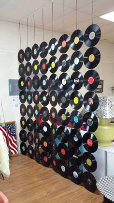 """Repurposed record LPs (Don't worry-we didn't use any """"good"""" ones! Indie Room Decor, Cute Bedroom Decor, Aesthetic Room Decor, Room Ideas Bedroom, Record Decor, Vinyl Record Crafts, Casa Top, Diy Home Bar, Retro Bedrooms"""