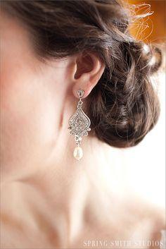 Crystal Bridal Pearl Earrings Long Dangle by CrystalAvenues, $52.00