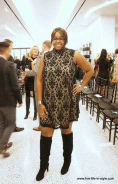 Baroque Shift Dress from Asos paired with Knee-High Boots - #LLISStyle