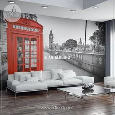 Traditional red phone box in London with the Big Ben in the background Wall Mural, London landmarks Photo Mural, London cityscape wall décor