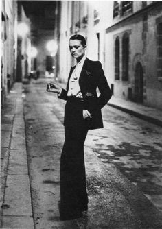 VIBEKE wearing Le Smoking by YSL photographed by HELMUT NEWTON in the 70's