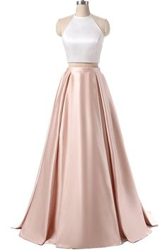 Elegant halter satin prom dress, two pieces prom dress
