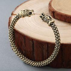 CHENGXUN Men Nordic Viking Dragon Bangle Antique Jewelry Solid Bronze Cuff Bracelet Scandinavian Historical Costume Accessories  #Affiliate