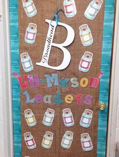 "@khead67 did an ""uh-mason"" job decorating her door with Shabby Chic Accents, Border Trim, and Letters! We love seeing your decorating ideas. Show us how you use Teacher Created Resources decorations in your classroom, and be sure to include the #teachercreatedresources hashtag."