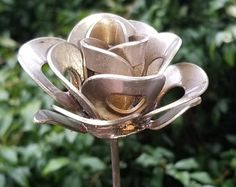 Metal Rose, Recycled Metal Rose, Metal Rose Sculpture, Welded Rose, Metal Rose Art, Steampunk Rose, Yard Art, Garden Art, 3.5 Inch Head