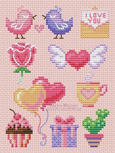 Cross Stitch Patterns Free Easy, Tiny Cross Stitch, Cross Stitch Freebies, Cross Stitch Heart, Cross Stitch Cards, Beaded Cross Stitch, Simple Cross Stitch, Cross Stitch Flowers, Cross Stitch Designs