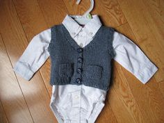 "This pattern is for a baby ""grandpa vest"", and is sized to fit 3 - 6 months, 9 - 12 months, and 18 months.  It could be perfect to use..."