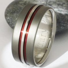 Titanium Wedding Band Set Thin Red Line Rings His and Hers