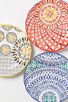 Terrazzo Dessert Plate #anthropologie.  I want to find dishes that look like Mexican pottery.