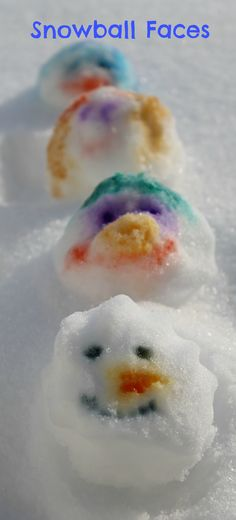 Snowball Faces :: winter outdoor play :: snow day activiites