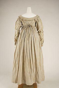 c.1820 British morning dress, cotton, Met 1979.385.1