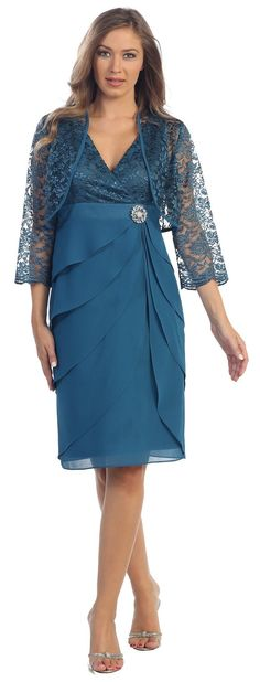 Short Formal Teal Blue Dress V-Neck Lace Chiffon 3/4 Sleeve Jacket $111.99
