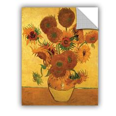Vase with Fifteen Sunflowers by Vincent Van Gogh Art Appeelz Removable Wall Mural