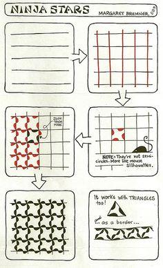 NINJA STARS tangle instructions fx