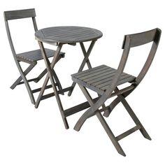 Mesa + 2 sillas de jardín de acacia gris D. 39 cm