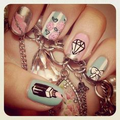 Lips,floral,diamond,bow and lipstick nails.