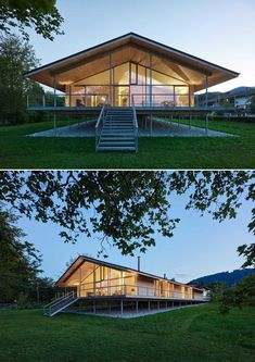 The timber construction of this modern house was mostly made from local woods, and is elevated on stilts to protect it from flood. German Architecture, Contemporary Architecture, House On Stilts, Clever Design, Pavilion, Minimalism, Villa, Construction, Wraparound