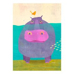 Found it at AllModern - Happy Hippo by Melanie Mikecz Canvas Art