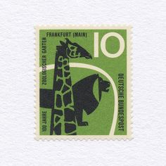 Centenary of the Frankfurt Zoological Garden (10Pf). West Germany, 1958. Design: A. & G. Haller. #mnh #graphilately