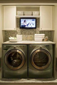 TV in the laundry room.