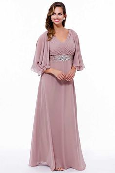A-Line Chiffon Gown with Semi Sheer Kimono Sleeves MORE COLORS