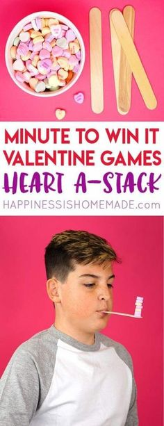 These Minute to Win It Valentine Games will be the hit of your Valentine's Day party! Valentine Minute to Win It Games for kids and adults - everyone will want to play! day party for adults Valentine Minute to Win It Games Kinder Valentines, Valentines Day Activities, Valentines Day Party, Valentines Party Ideas For Kids Games, Preschool Valentine Ideas, Valentine Nails, Valentinstag Party, Geek House, Valentine's Day Party Games