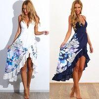 Home | Sexy Womens Summer Boho Long Maxi Evening Party Cocktail Dress Beach Dresses Sundress