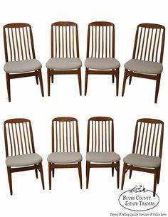 Benny Linden Set of 8 Solid Teak Danish Modern Style Dining Chairs #DanishModern