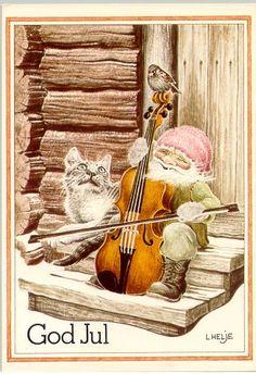 Illustrators only: Lennart Helje Swedish Christmas, Scandinavian Christmas, Christmas Cats, Christmas Illustration, Illustration Art, Elves And Fairies, Illustrations And Posters, Christmas Pictures, Fantasy Creatures