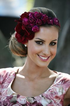 Floral Headband - Festive Holiday Hair Accessories Guaranteed to Make You Stand Out - StyleBistro Holiday Hairstyles, Celebrity Hairstyles, Wedding Hairstyles, Headband Hairstyles, Fascinator Headband, Fascinators, Headpieces, Flower Headpiece, Headdress
