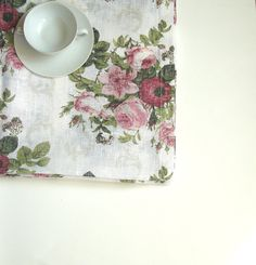 LINEN table cloth with roses natural linen by LinenWoolRainbow