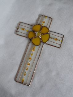 Stained Glass Cross White with Yellow Daisy by StewArtStuff, $19.95
