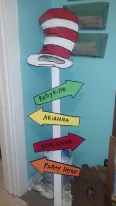 Dr Seuess wooden sign for baby shower