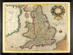 Gerardus Mercator, cartographer (1512-1594). Copper Engraved Map of Great Britain with Hand-Coloring Entitled, Anglia Regnum. [n.d., circa 1606]