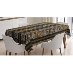 Zambia Tablecloth, Authentic Bohemian African Primitive Striped Grunge Fashion Culture Artsy Pattern, Rectangular Table Cover for Dining Room Kitchen, 60 X 84 Inches, Multicolor, by Ambesonne #primitivediningrooms