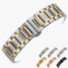 14mm 16mm 18mm 22mm 24mm Stainless Steel Watch band Strap Bracelet Watchband Wristband Butterfly clasps Black Silver Rose Gold
