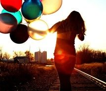Inspiring picture balloons, girl, photography, pictures, railroads.