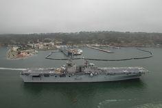 US Navy amphibious assault ship USS Boxer passes Naval Base Point (NBPL) San Diego, California
