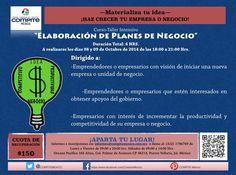 """Infórmate sobre nuestro #curso """"Elaboración de Planes de Negocio"""" y gestiona recursos #Emprendedor informes@compitemexico.com.mx"""