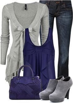 """Not digging the shoes but love the sweater and color combo    """"Blue and Gray"""" by fashion-766 on Polyvore"""