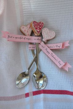 """These spoons came from Hobby Lobby. I wrote, """"Just a spoonful of sugar...is what you are!"""" These would be cute dipped in chocolate or given with a coffee mug to a teacher."""