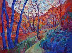 Erin Hanson es una pintora norteamericana de toda la vida, que ha destacado por sus paisajes pintados al óleo. Al situarse ella misma en el exterior, en medio de la naturaleza, consigue encontrar constantemente nuevas fuentes de inspiración.