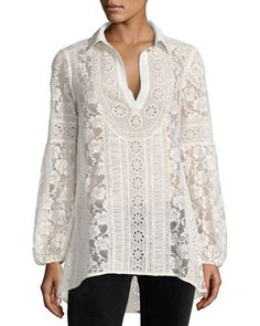 ALICE AND OLIVIA Jill Embroidered Lace Peasant Top, Cream. #aliceandolivia #cloth #