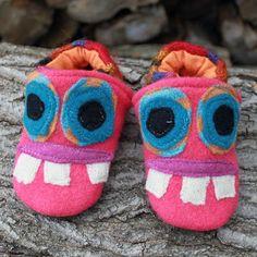 Pink Monster Wool Slippers Kids Size 1218 by littlefriendsco