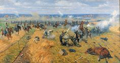 Russian Cuirassier attacking French Artillery