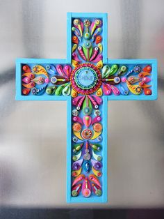Decorative Wall Cross Shine Cross Art Deco Vintage by iluvPiC