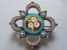 SALE---Superb Early 1800's 9kt Gold Highly Detailed Micro Mosaic Brooch. $249.00, via Etsy.