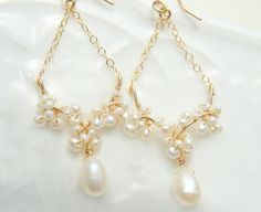 Romantic Pearl Earrings White Chandelier Earrings by Yukojewelry