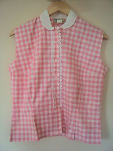 Vintage-1960-039-s-Pink-Gingham-shirt-with-039-Lace-039-detail-Size-14-Excellent-Condition